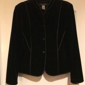 Velvet Jacket Satin Trim Pockets Jones NY 12 Lined